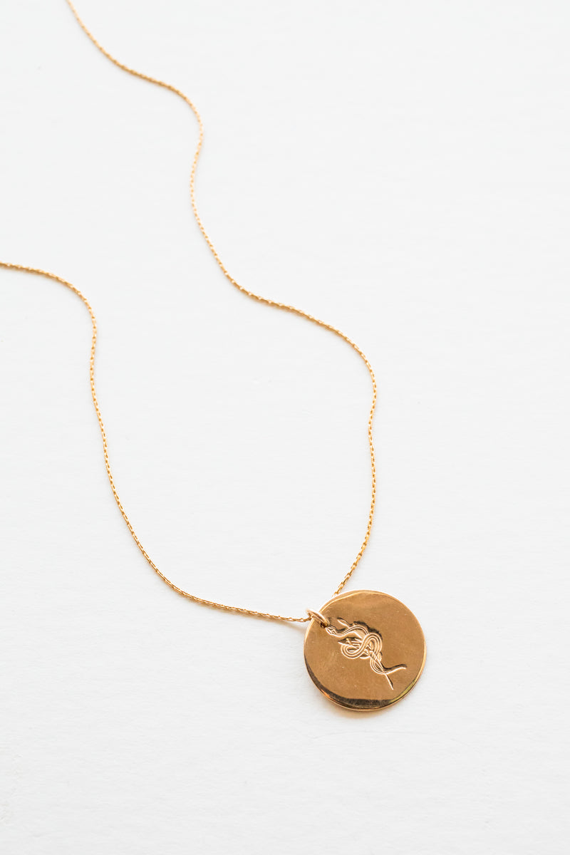 Gold Serpent Coin Necklace