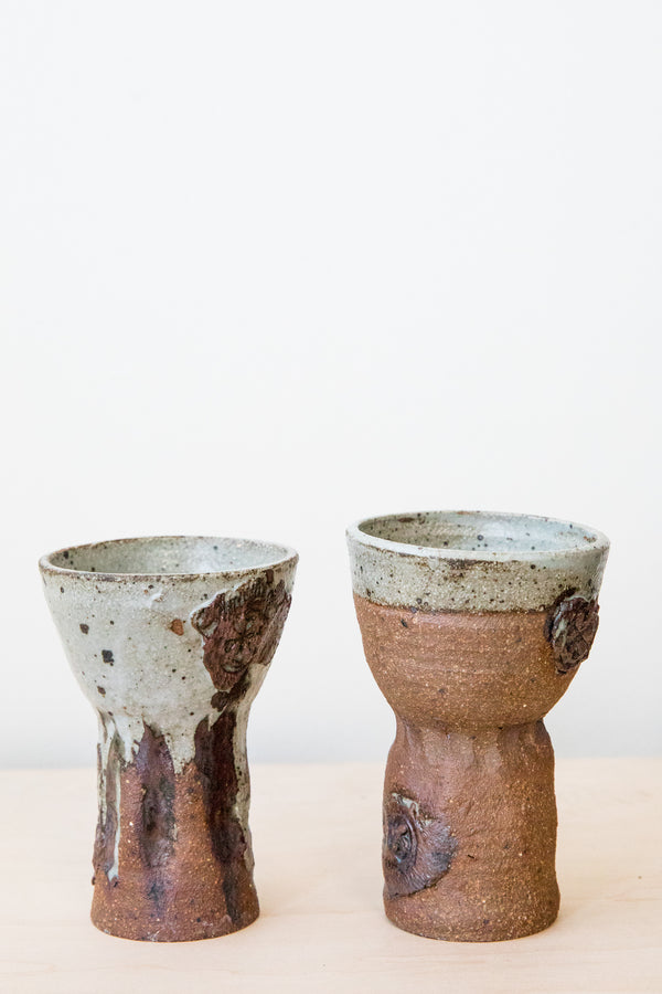 Brown Studio Pottery Goblet Set