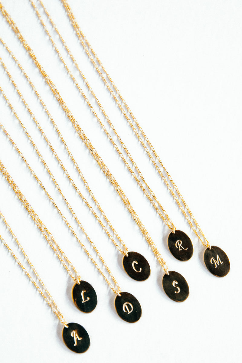 Gold Oval Monogram Necklace