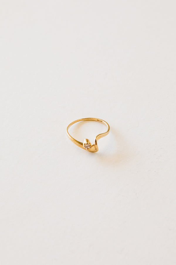 14k Modernist Diamond Ring