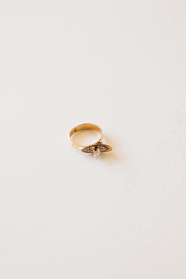 14k Angled Diamond Ring