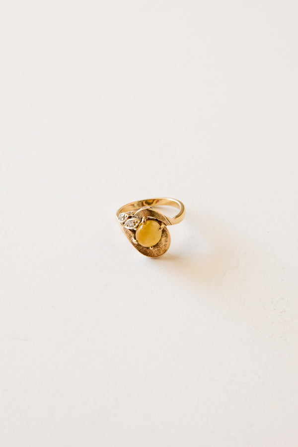 10k Tiger's Eye + Diamond Ring