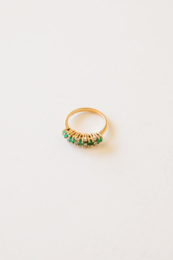 14k Emerald + Diamond Ring