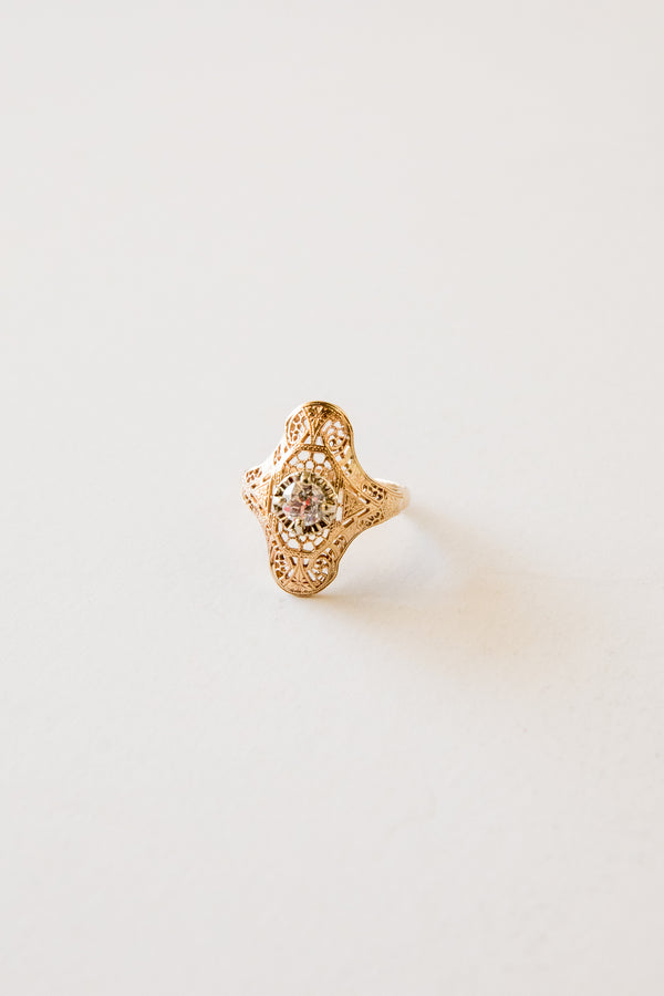 14k Filigree Diamond Ring