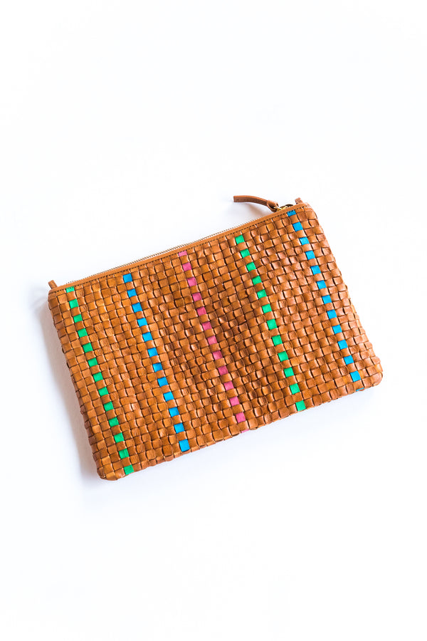 Natural Checker Flat Clutch