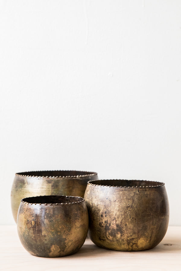 Distressed Brass Planter