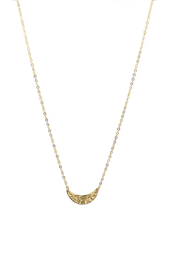 Gold Small Crescent Burst Necklace