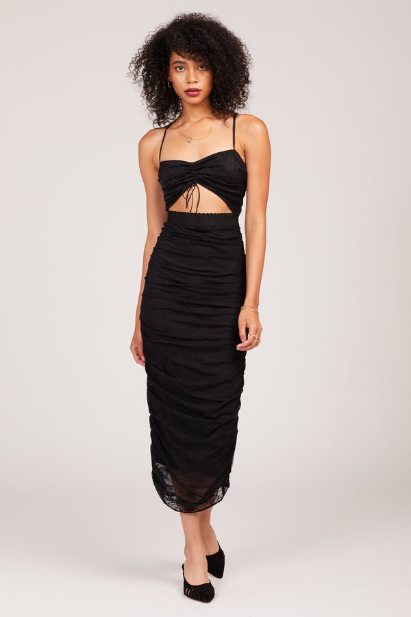 Black Poison Ruched Dress
