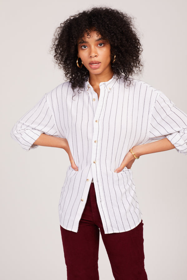Charcoal Stripe Slouch Shirt