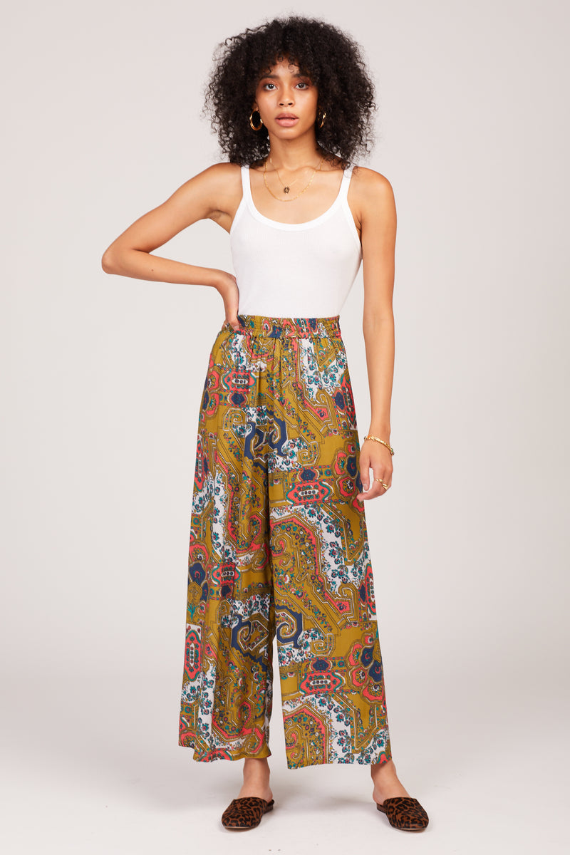 Rust Paisley Linda Trousers