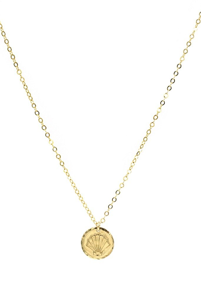 Gold Coin Shell Necklace