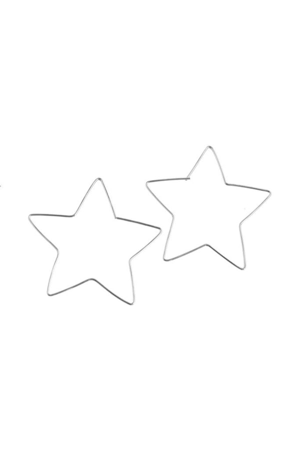 Silver Large Star Hoops
