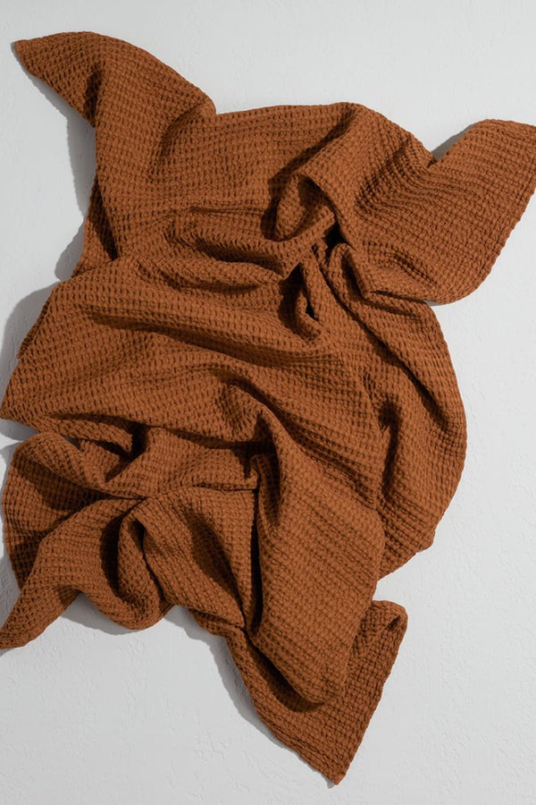 Terracotta Simple Waffle Hand Towel