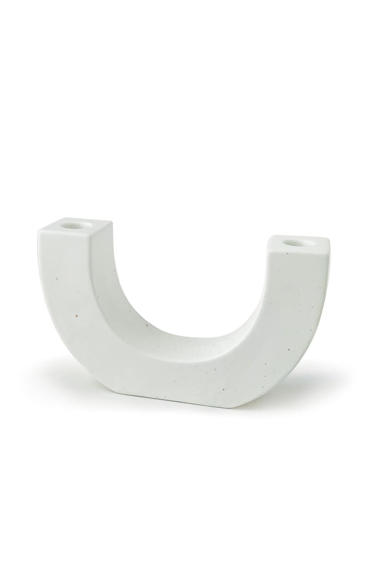 White U Speckled Taper Holder