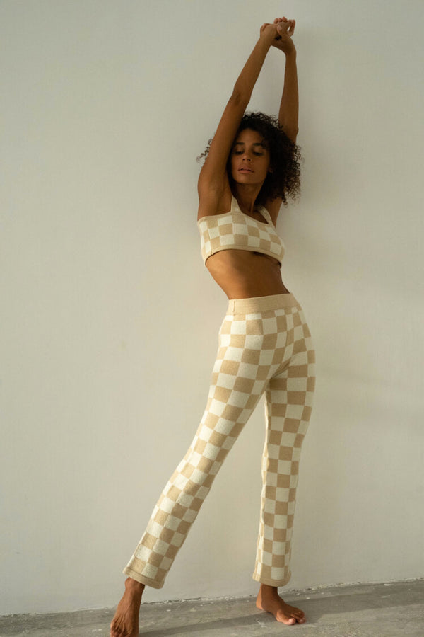 Sand Checkered Pant