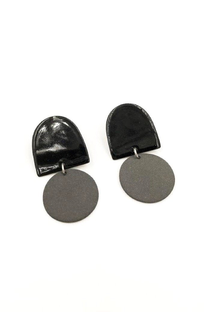 Black Dome Earrings