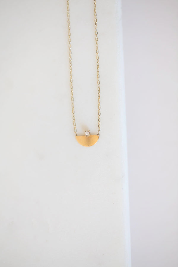 14k Half Moon Necklace