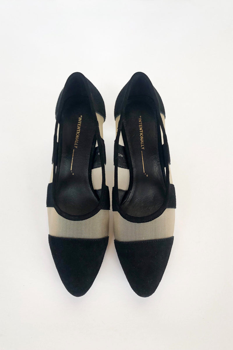 Black Art Suede Heels