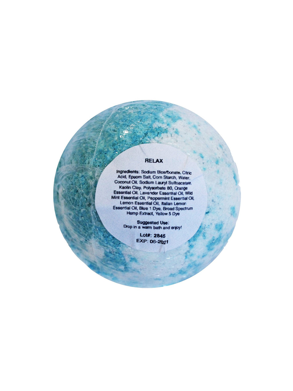 relax bath bomb label
