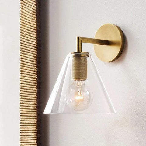 Armed Retro Brass Wall Sconce with Glass Shade