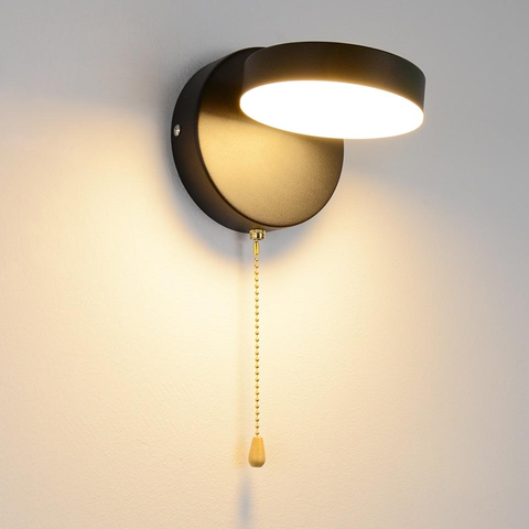 black Disk Rotate Metal LED Wall Lamp with Pull Chain