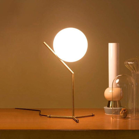 Post-Modern Frosted Sphere Brass Table Lamp