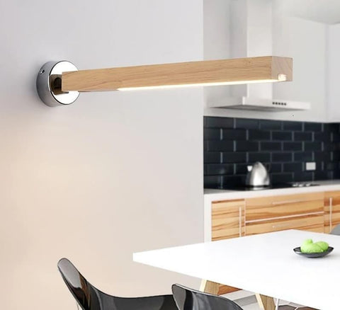 Minimalist Wall LED light in Wood and Metal