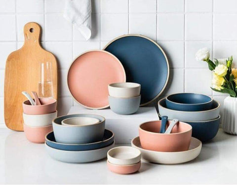 colorful pastel Dinnerware set