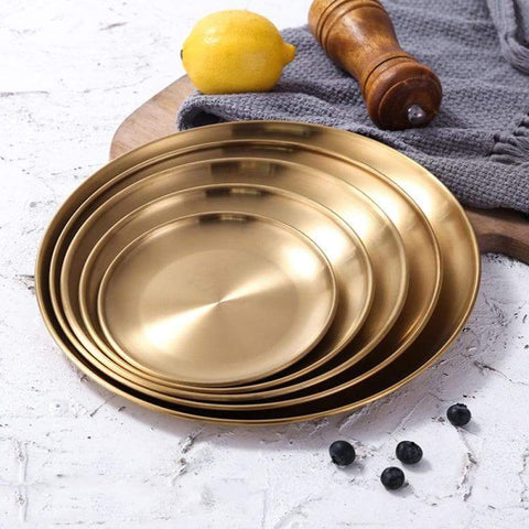 Gold Metal Serving Tray for Modern Kitchen and Home Decor