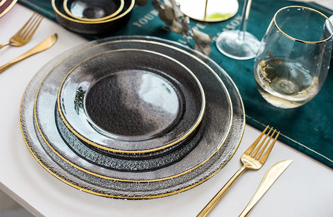 Gold Trim Glass Dinnerware Set