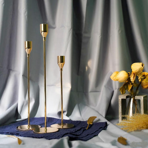 thin Vintage Gold Candle Holders