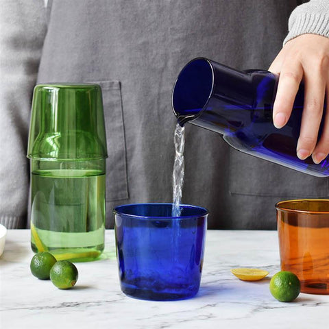 Vibrant Glass Water Jar and Glass Set gifts under 50