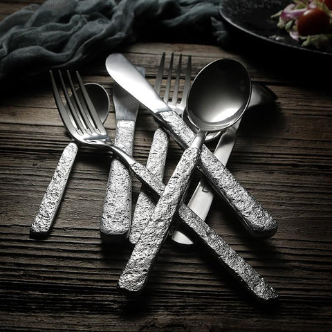 Retro Hammered Stainless Steel 4pc Cutlery Set