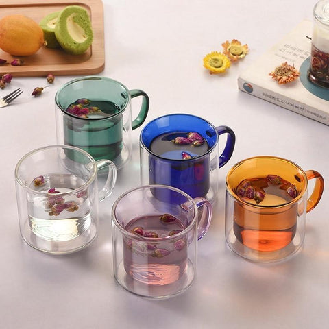 Double Wall Colored Glass Mugs