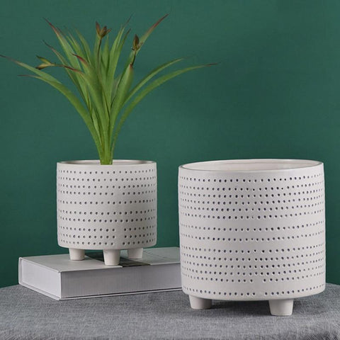 textured-dot-footed-ceramic-planters