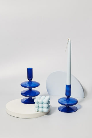 cobalt-blown-glass-candle-holders