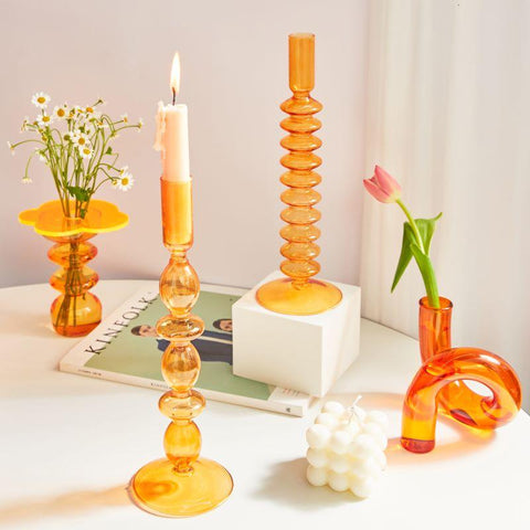 orange-blown-glass-candle-holders