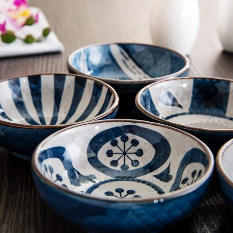white and blue Nori Porcelain sauce dish
