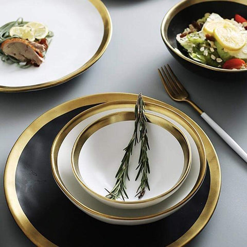Gold rimmed ceramic plates and bowls gifts under 50