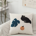 Textured Cat and Flower Pillow Covers for Room Office Modern Boho Decor Leaf