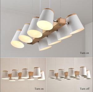 Modern Minimalist Wood and Metal Pendant lights with Bulbs