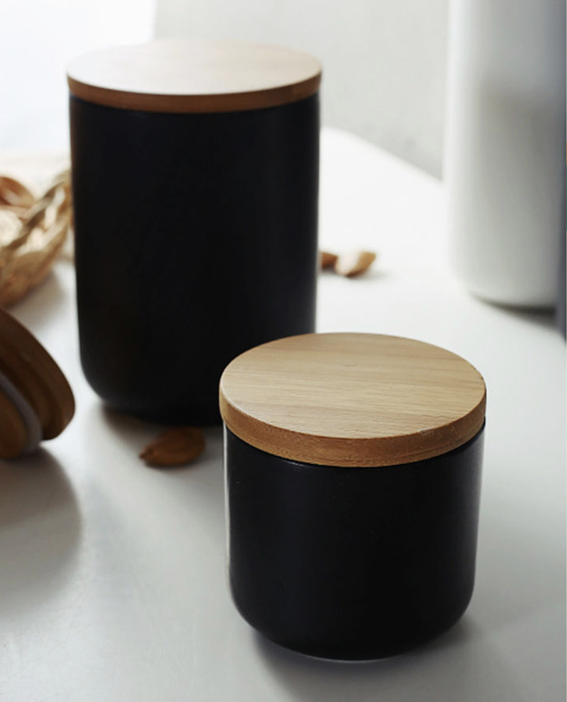 black Ceramic Containers for coffee, tea, spices for the kitchen
