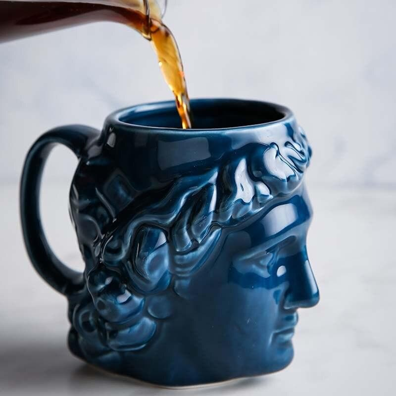 New 1Pcs 580mL 3D Style David Sculpture Ceramic Mug Coffee Tea Milk Drinking Cups with Handle Coffee Mug for Office Novelty Gift blue