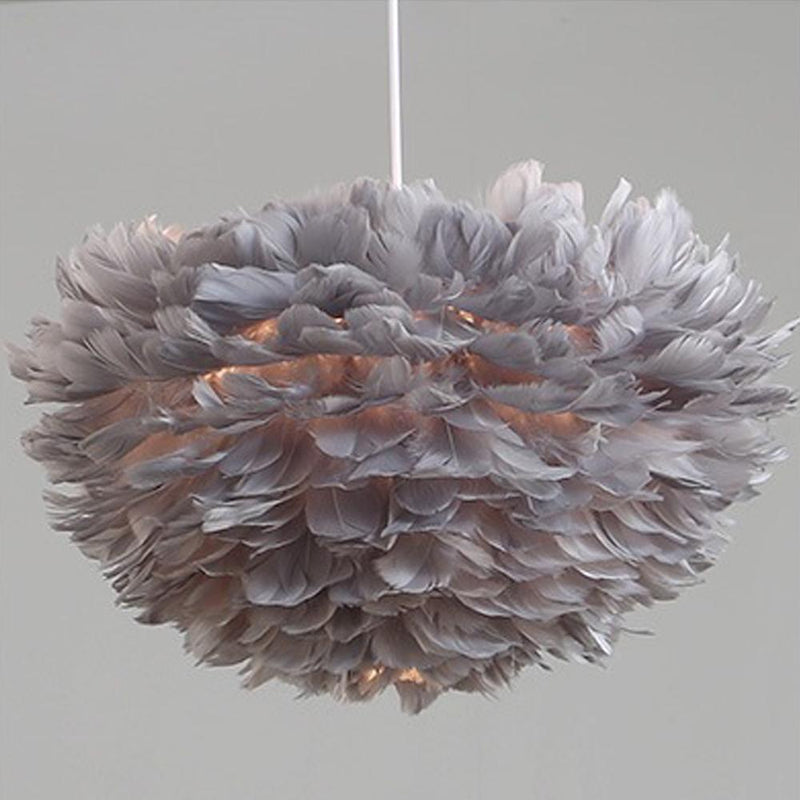 Artistic Home Decor Pendant Light with Feathers and LED Bulbs Grey