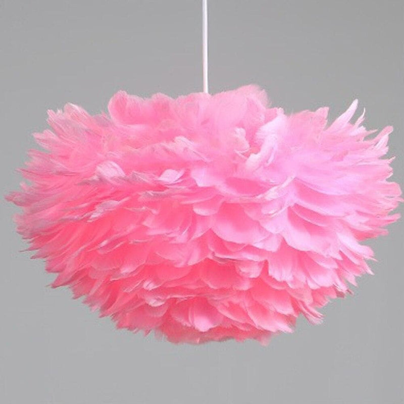 Artistic Home Decor Pendant Light with Feathers and LED Bulbs Pink
