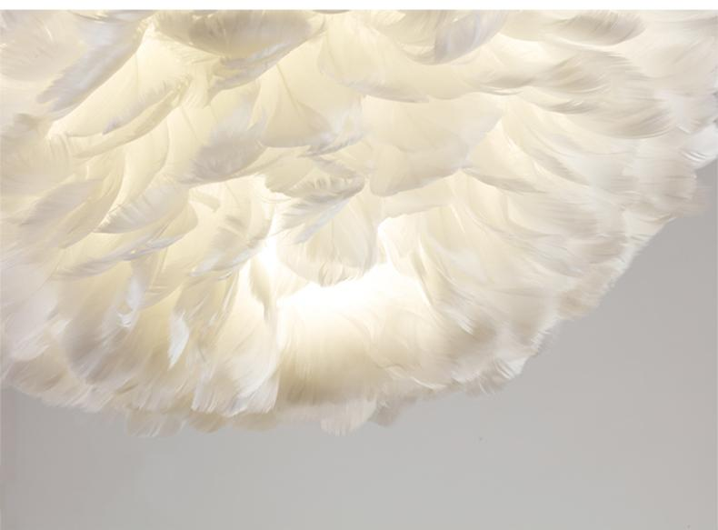 Artistic Home Decor Pendant Light with Feathers and LED Bulbs Ivory