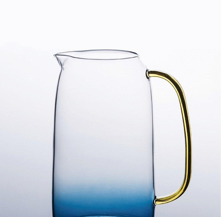 Gradient blue Borosilicate glass with gold handles pitcher and cups