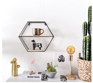 Round Geometric Wall Shelves in Metal and Wood
