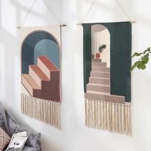 Load image into Gallery viewer, Wall Hanging tapestry with geometric designs, made of Woven cotton with tassel fringe and wooden hanging dowel