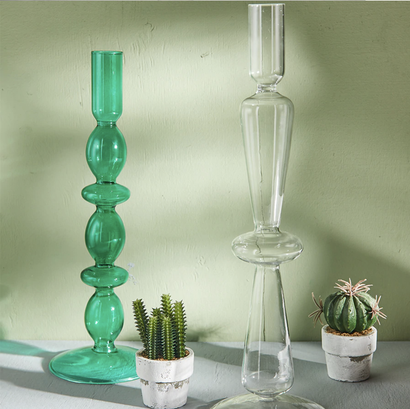 Geometric Eco-friendly blown glass candle holder